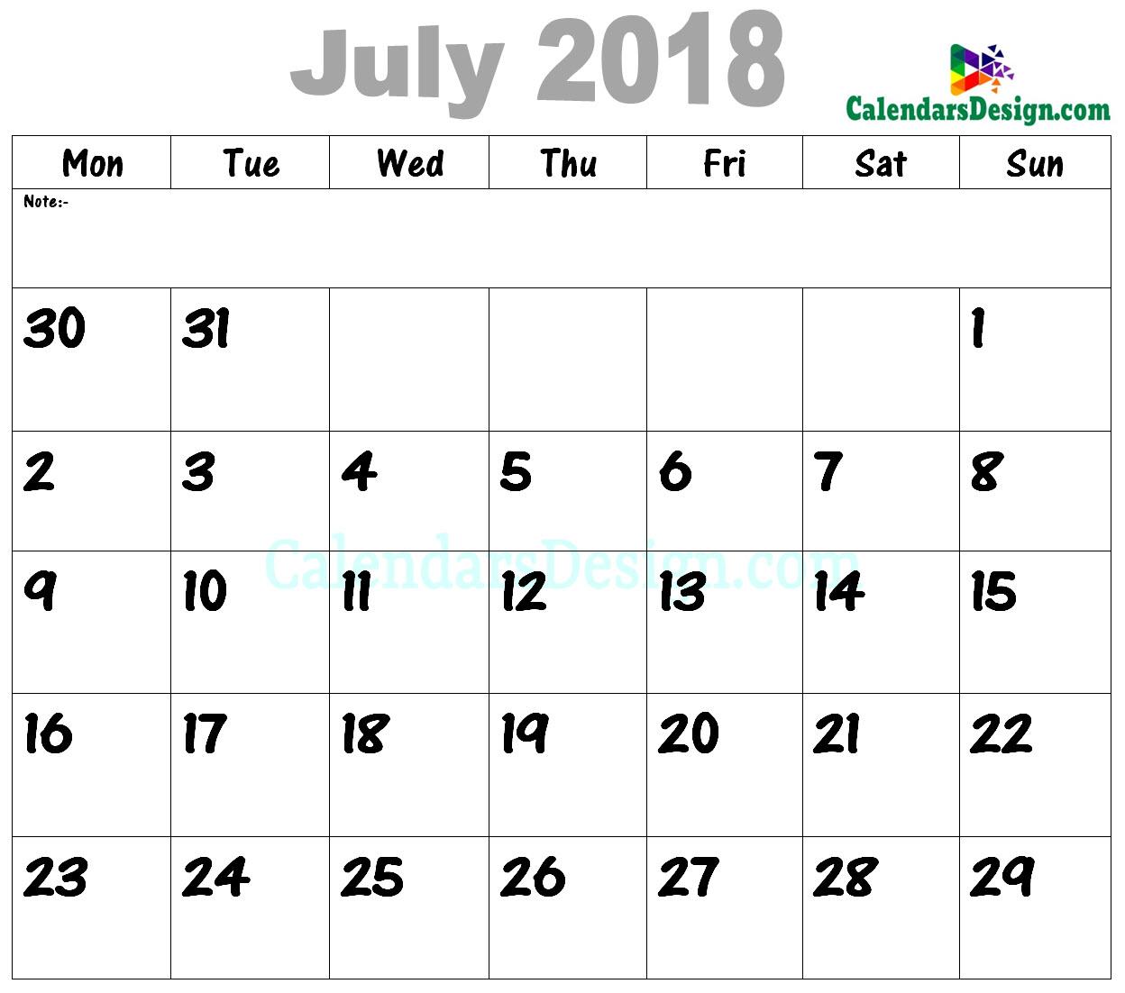 2018 July Calendar PDF
