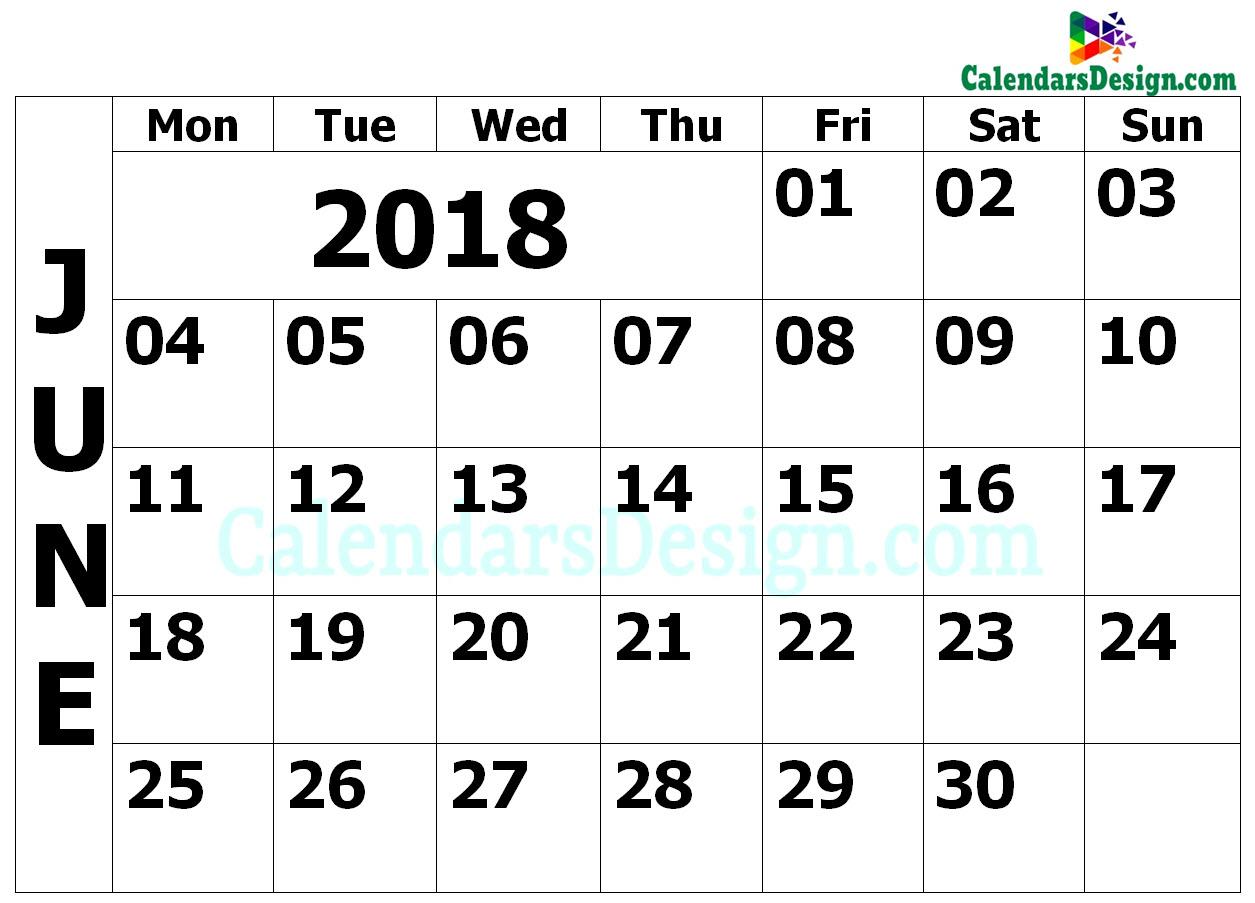 2018 June Calendar PDF