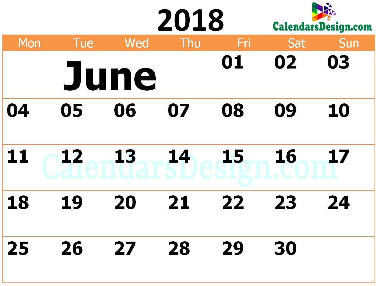 2018 June Calendar Template