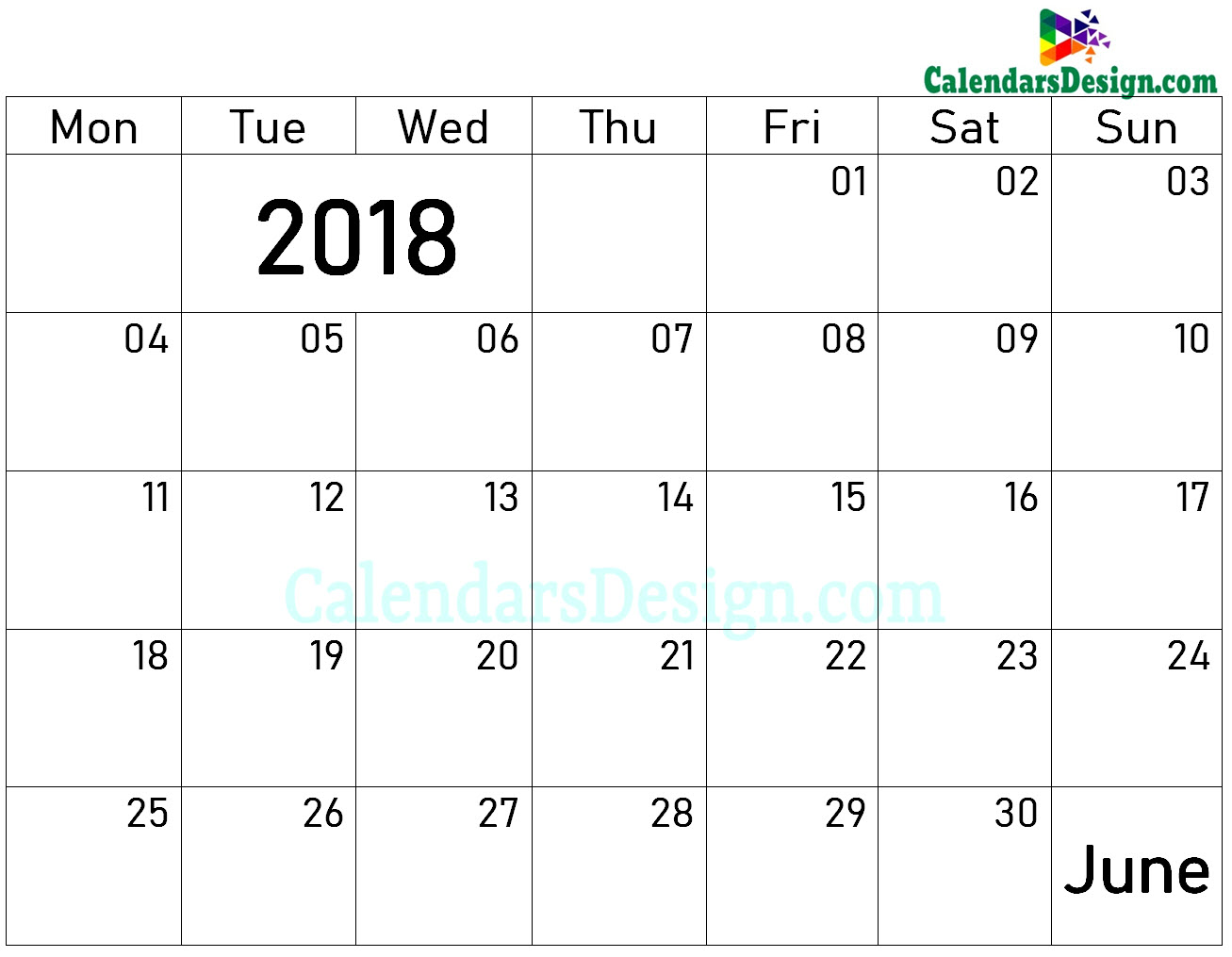 Blank June Calendar 2018
