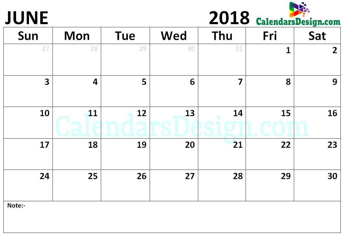 Calendar June 2018