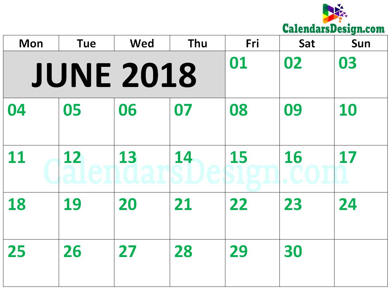 Calendar for June 2018 Template