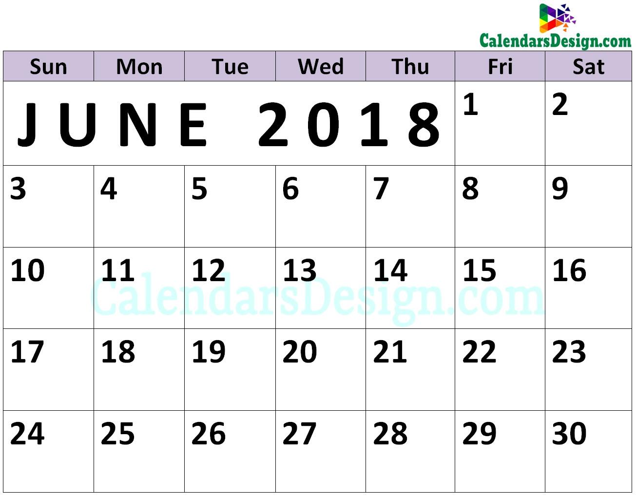 Calendar for June PDF