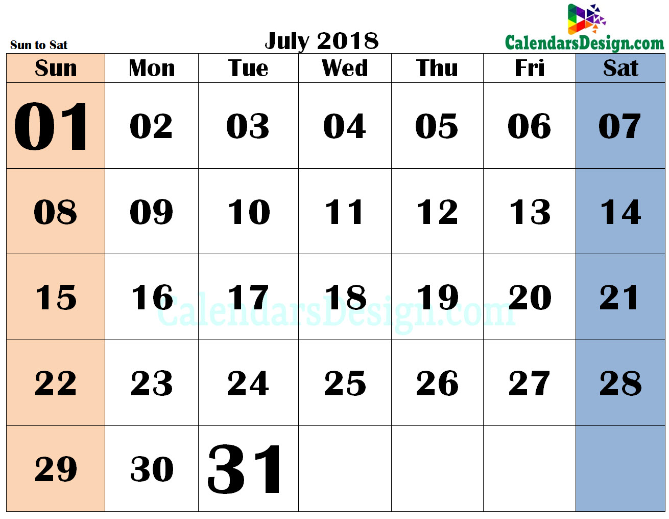 July 2018 PDF Calendar