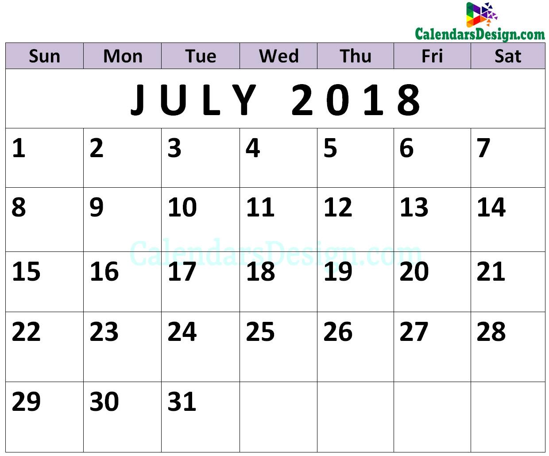 July Calendar 2018 PDF