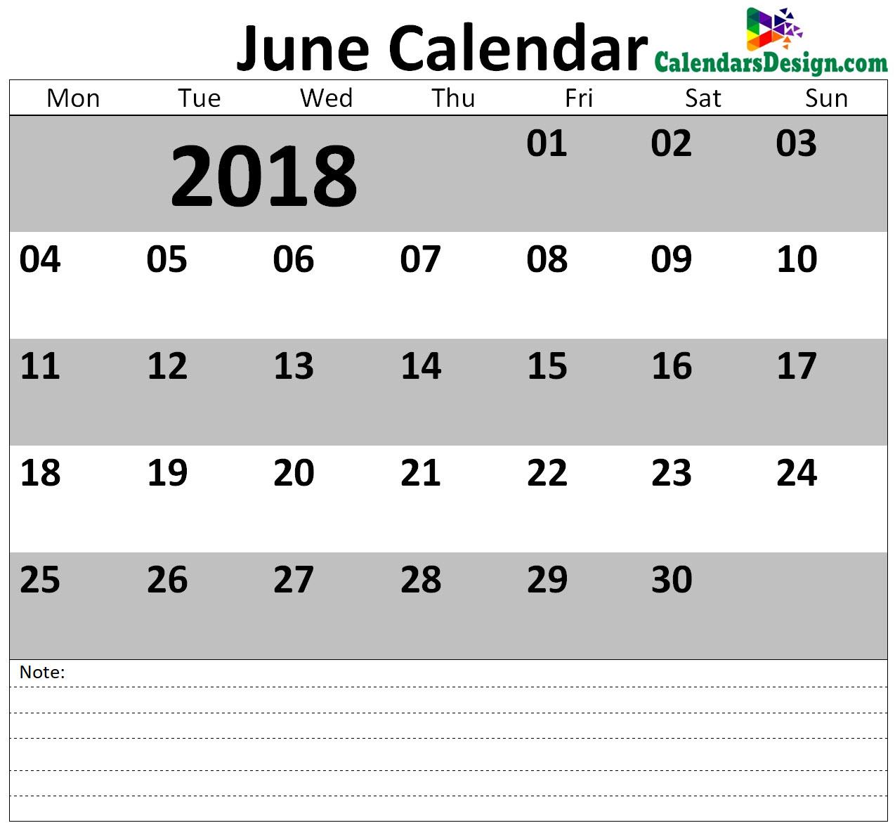 June 2018 Calendar Blank Template
