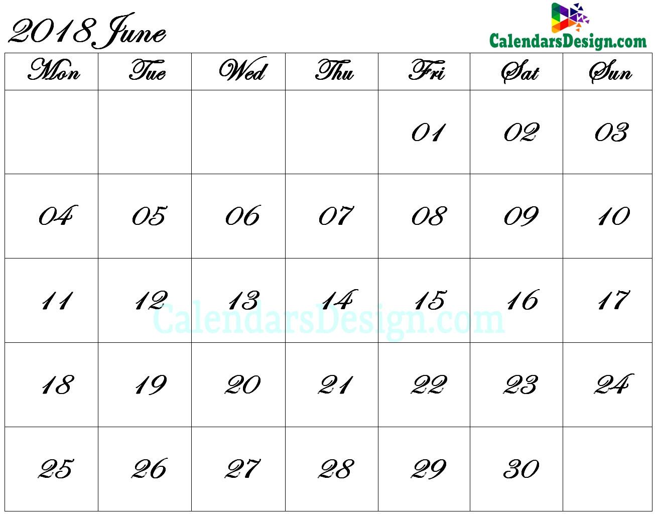 June 2018 Calendar Blank