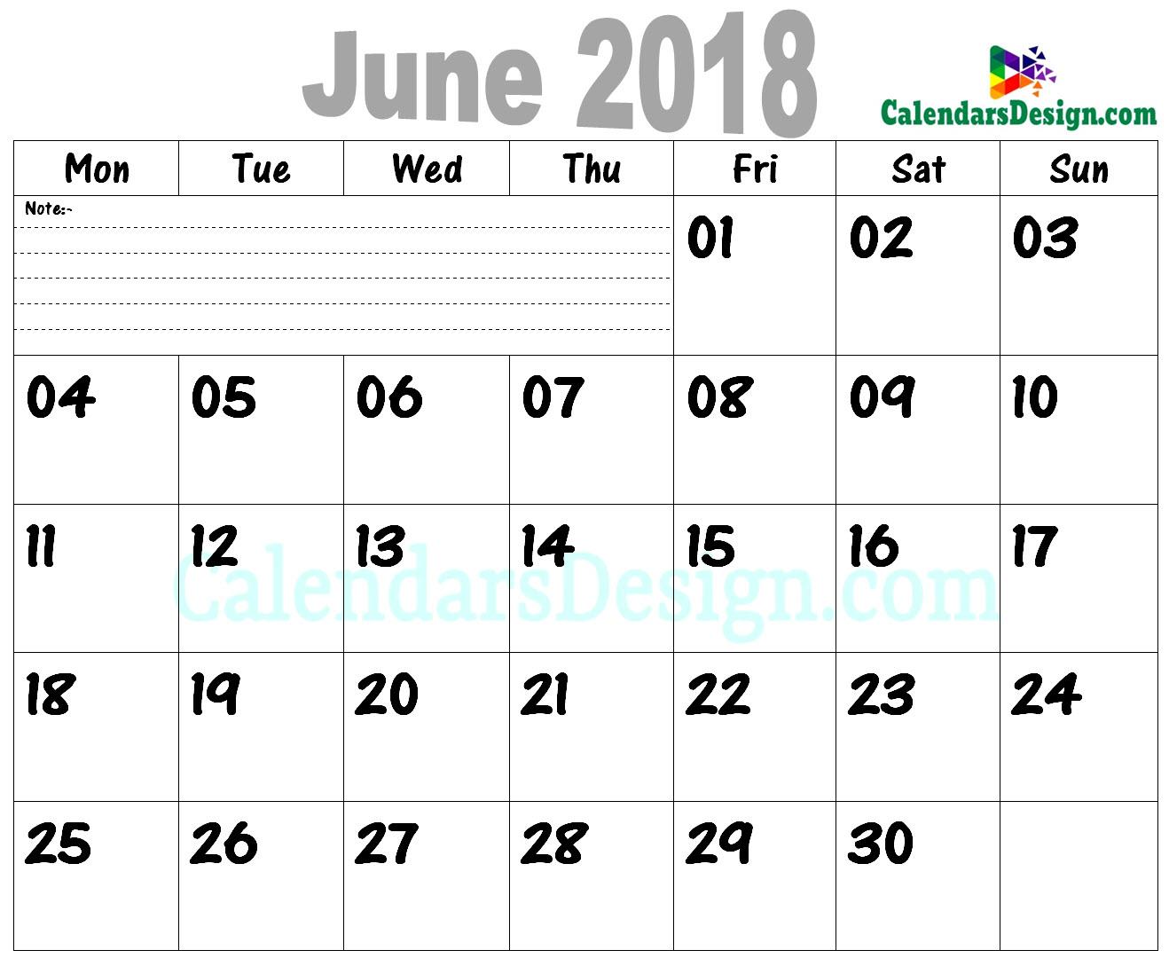 June 2018 Calendar PDF