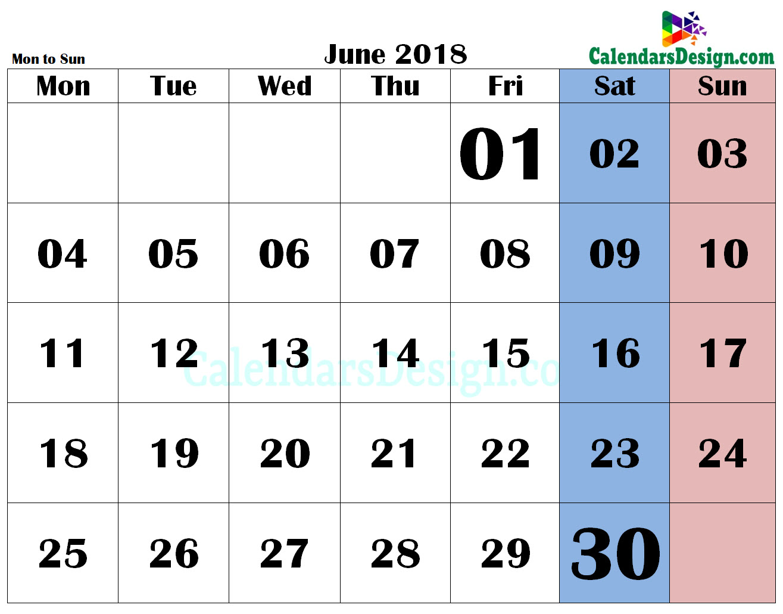 June 2018 PDF Calendar