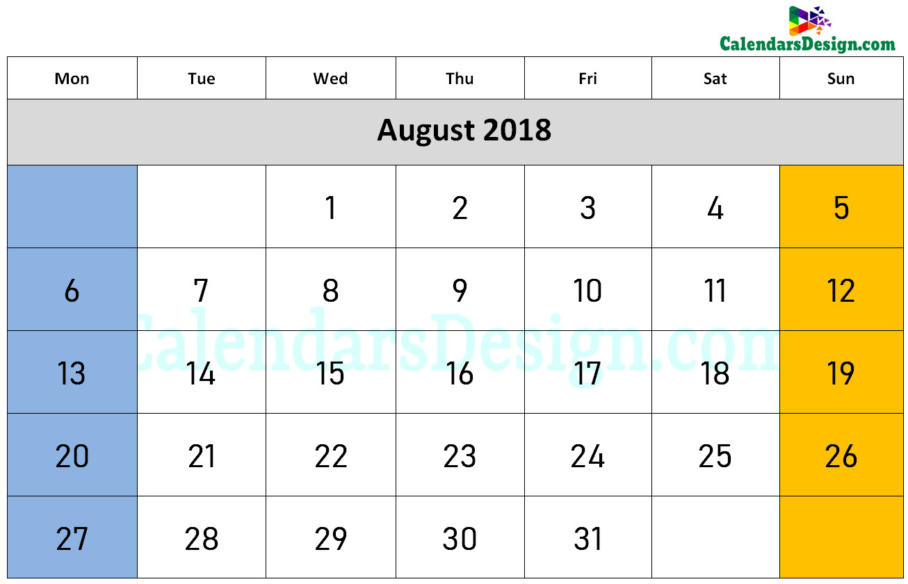 2018 August Calendar Holidays in Word