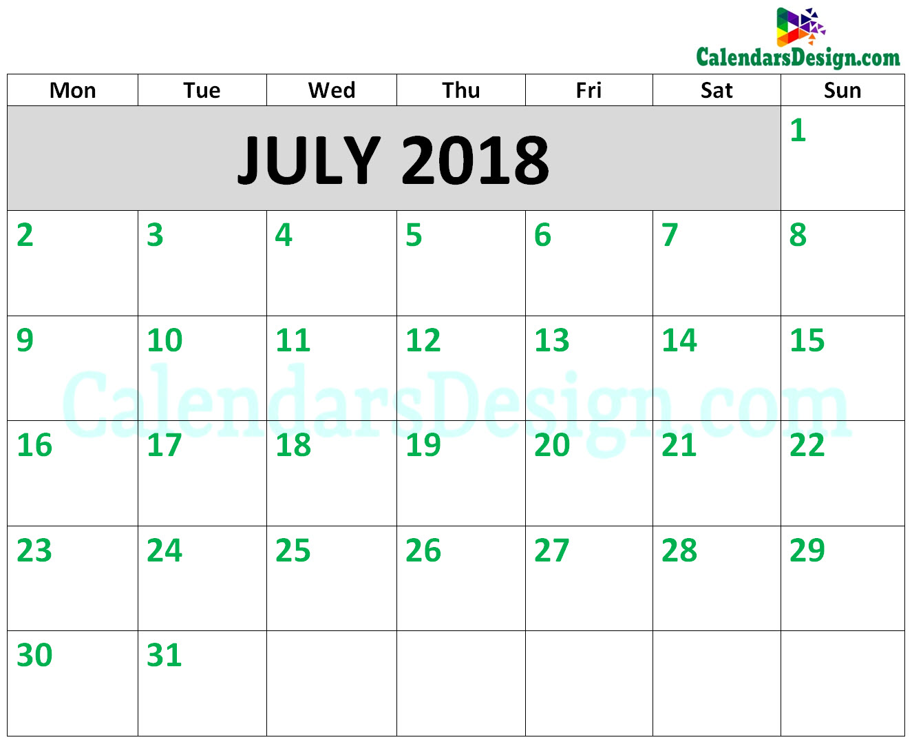2018 July Calendar Printable Template