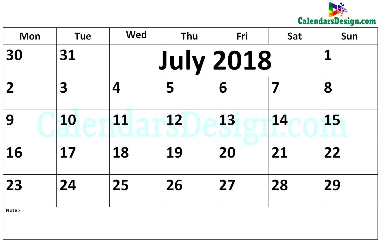 2018 July Calendar Word