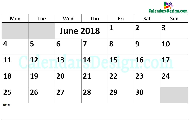 2018 June Calendar Word