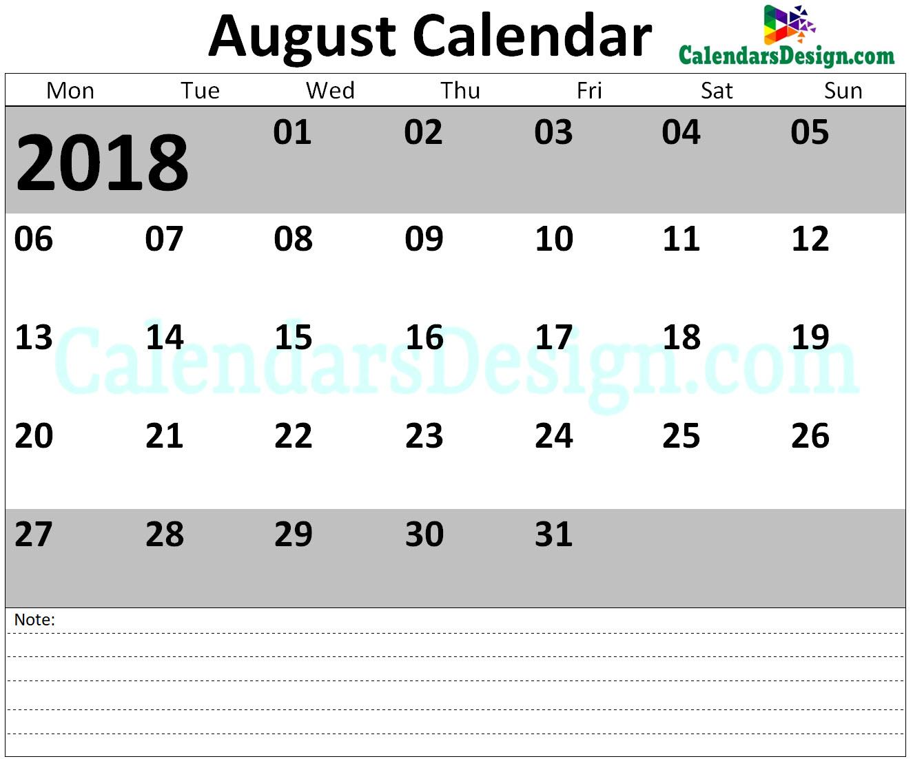 August 2018 Calendar Blank Template