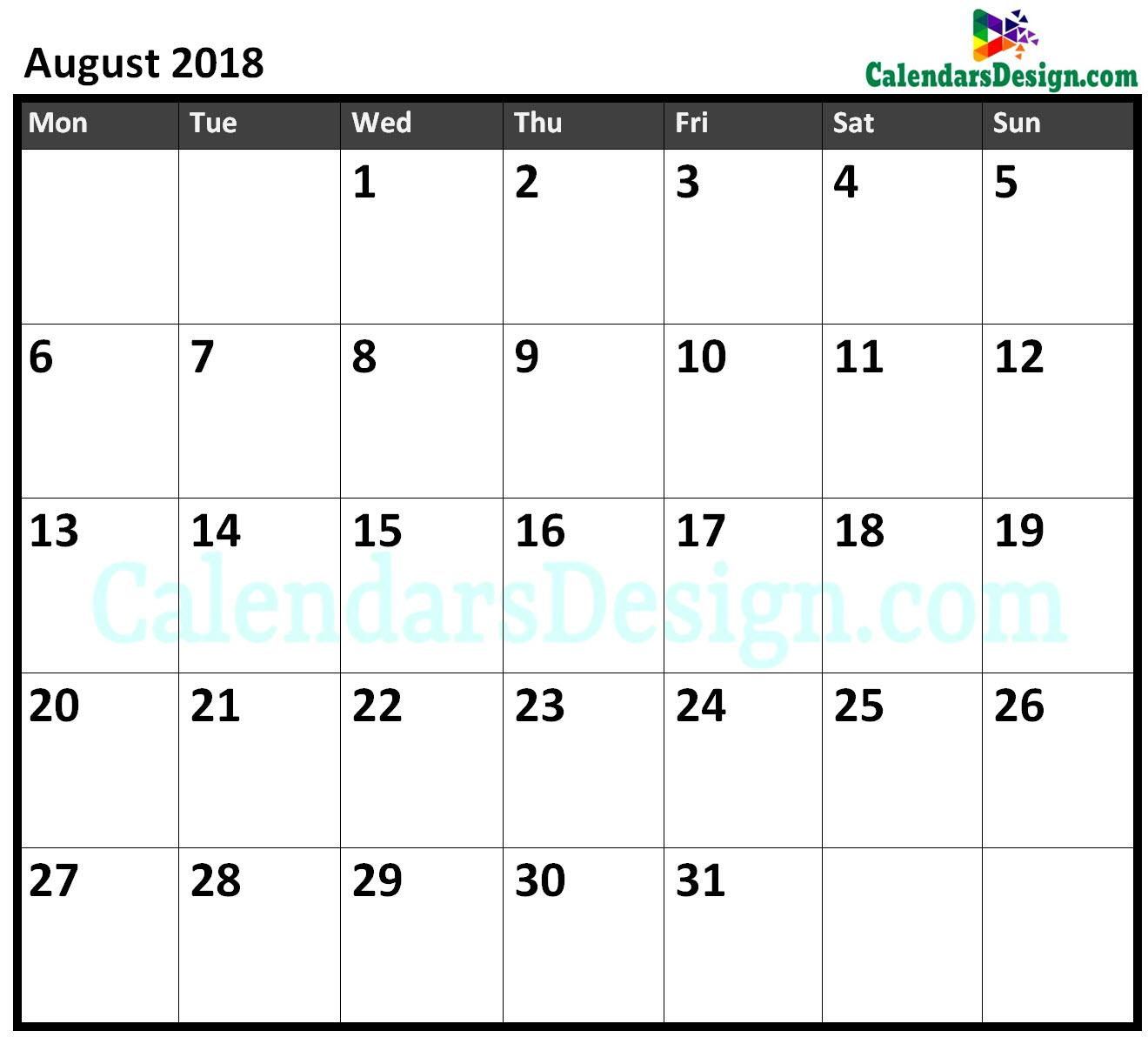 August 2018 Calendar Excel