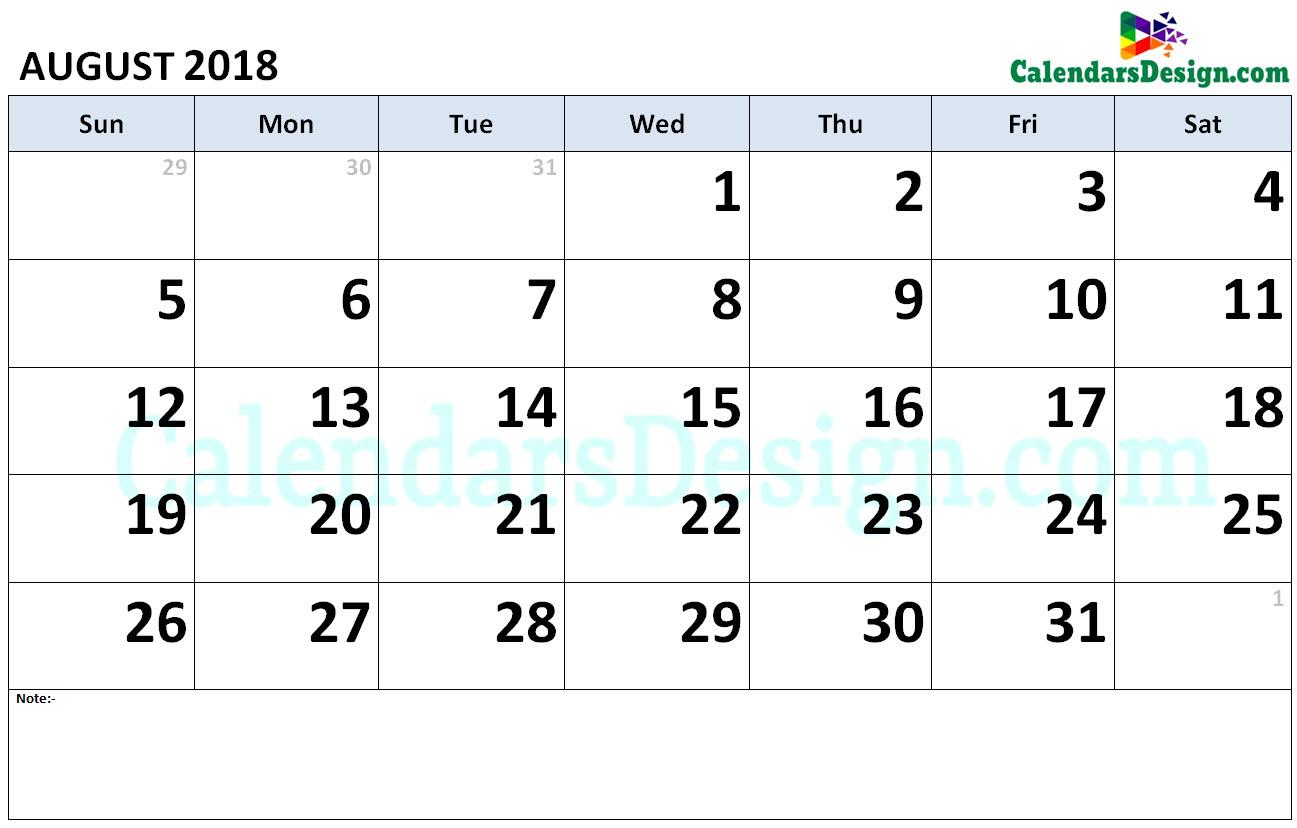 August 2018 Calendar Word Doc