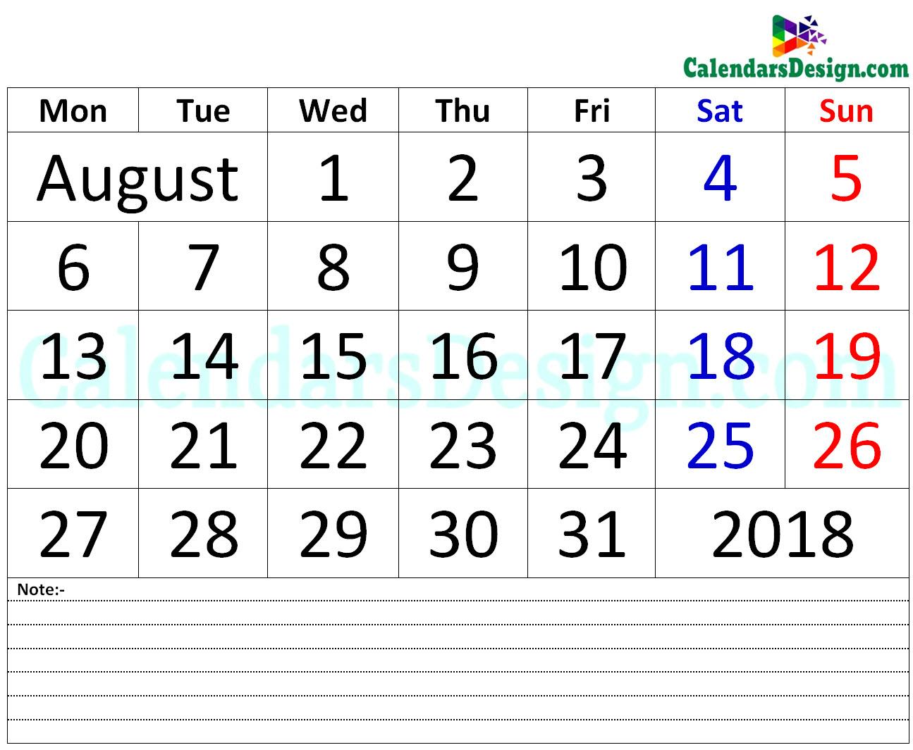 August 2018 Printable Calendar