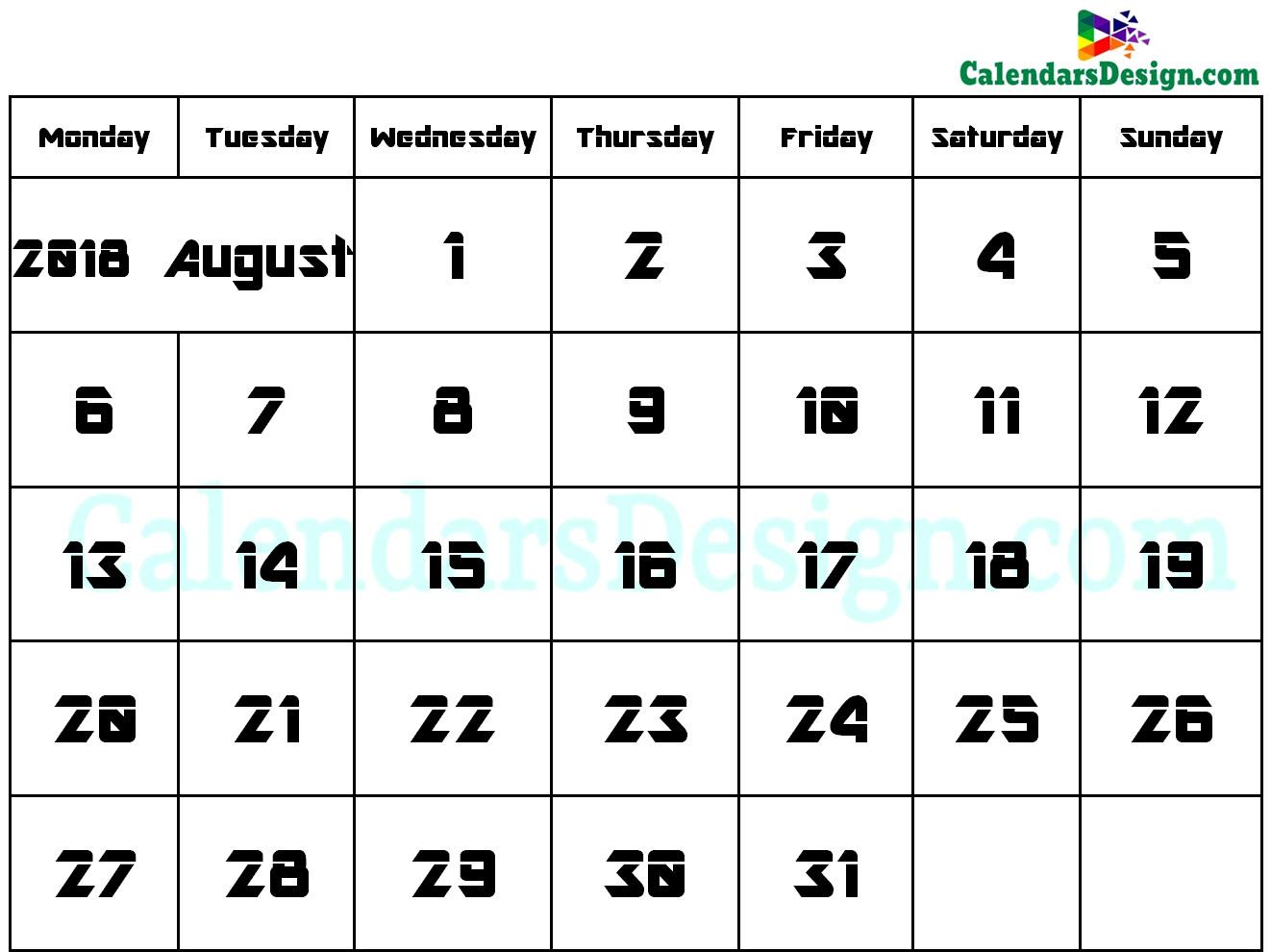 August Calendar 2018 Word Format