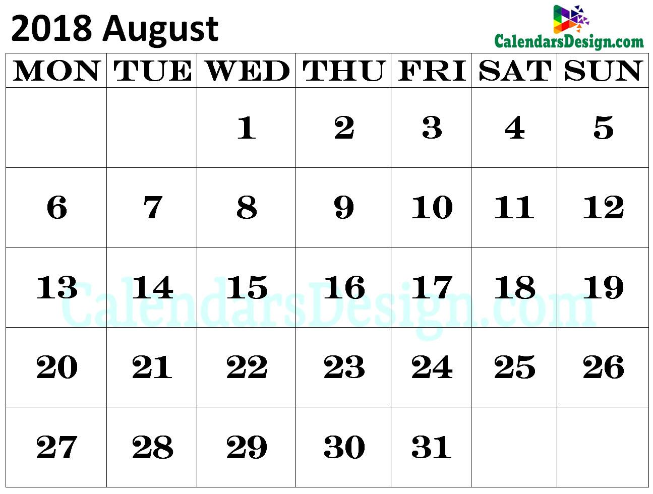 2018 calendar august excel calendar for august 2018 excel