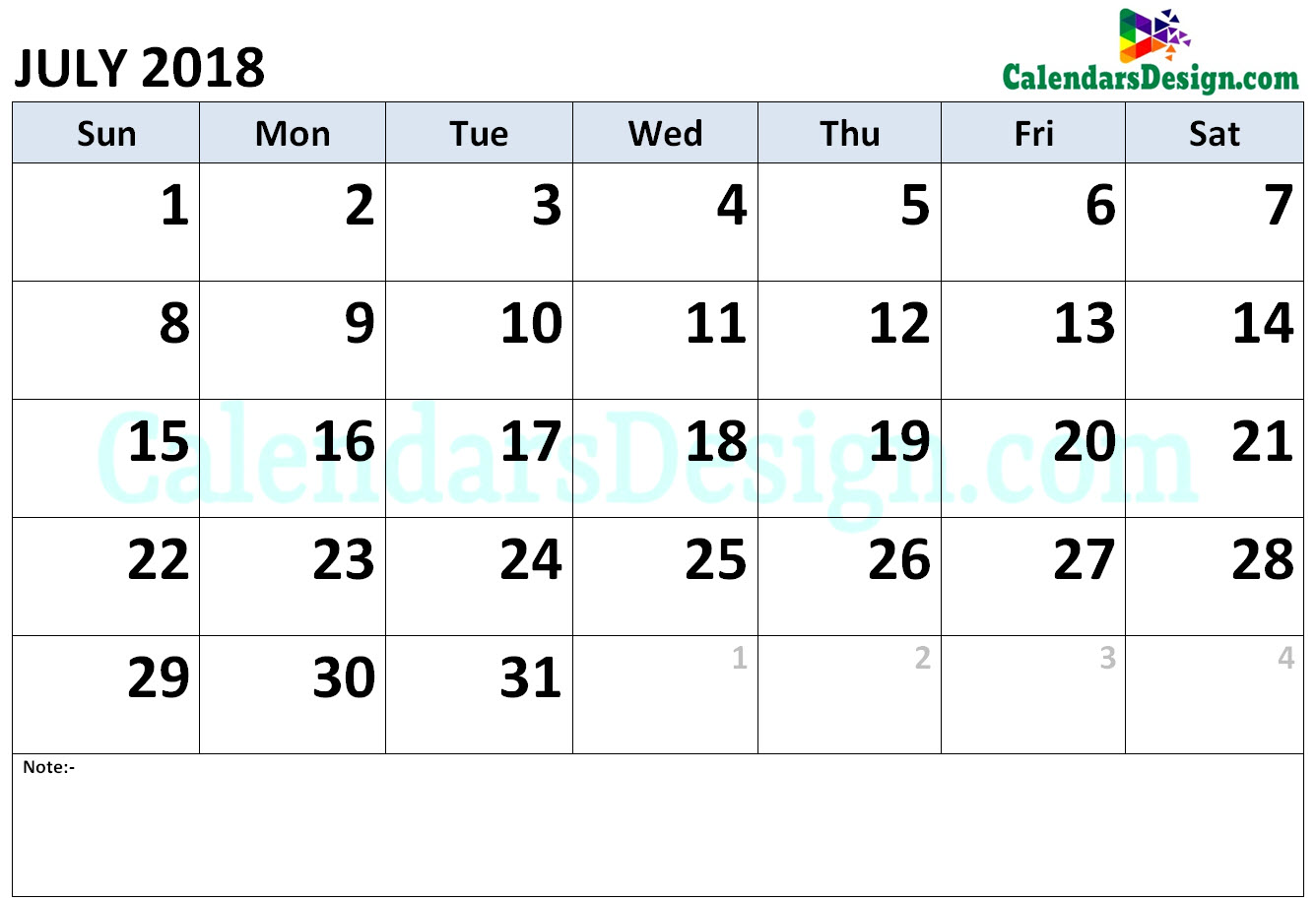Calendar for July 2018 Word
