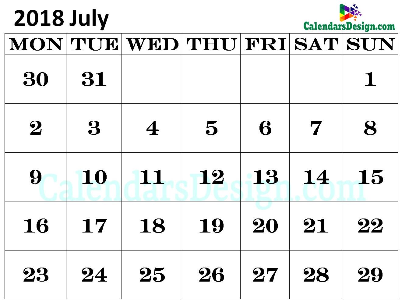 Calendar for July 2018 in Excel