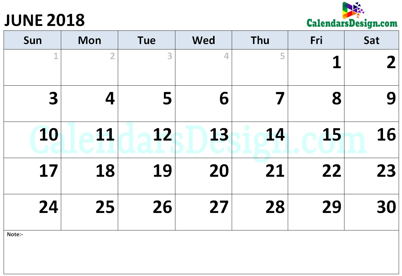 Calendar for June 2018 Word