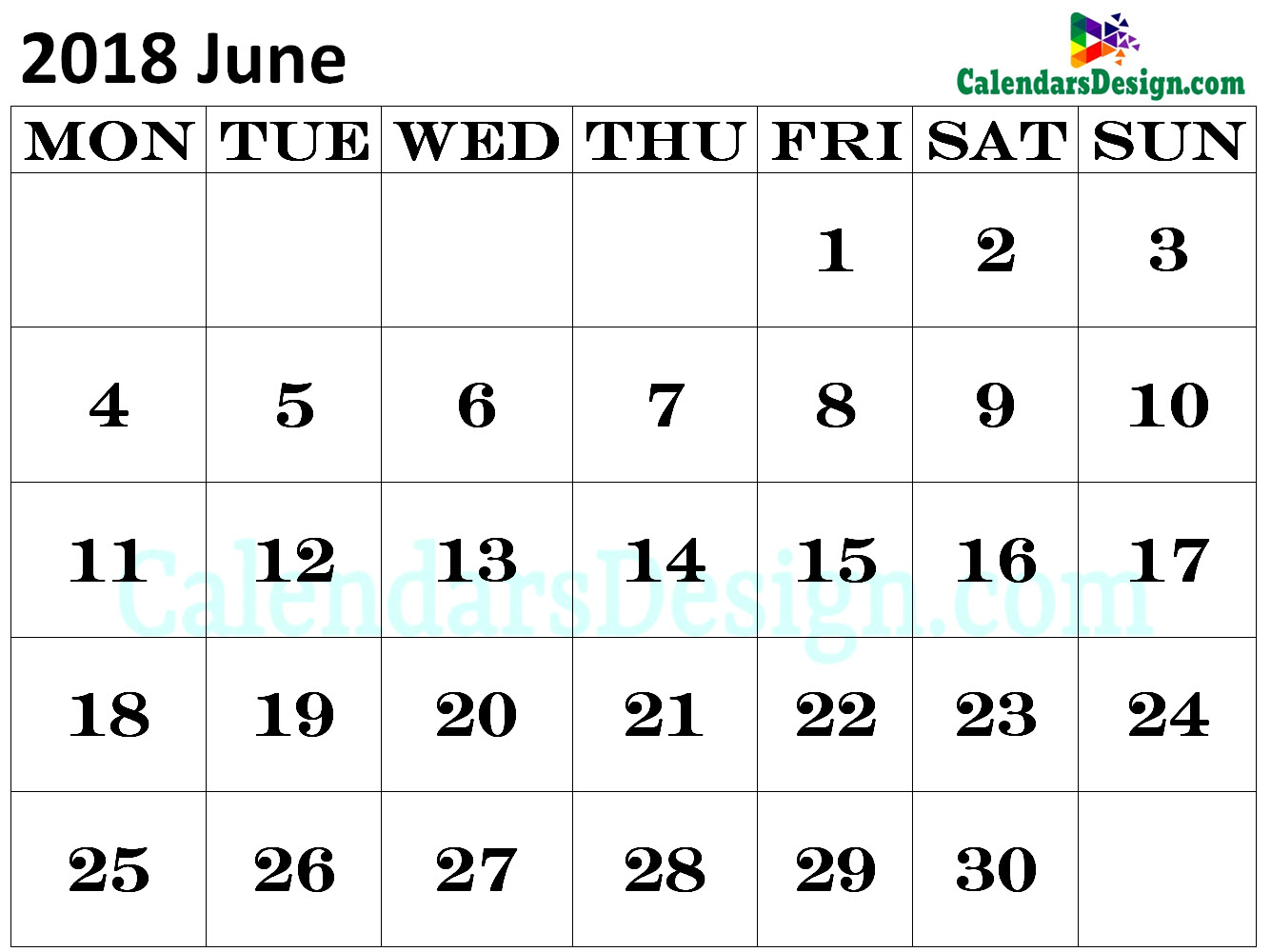 Calendar for June 2018 in Excel
