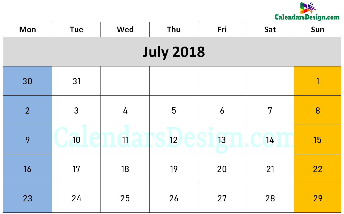 July 2018 Calendar Word Doc