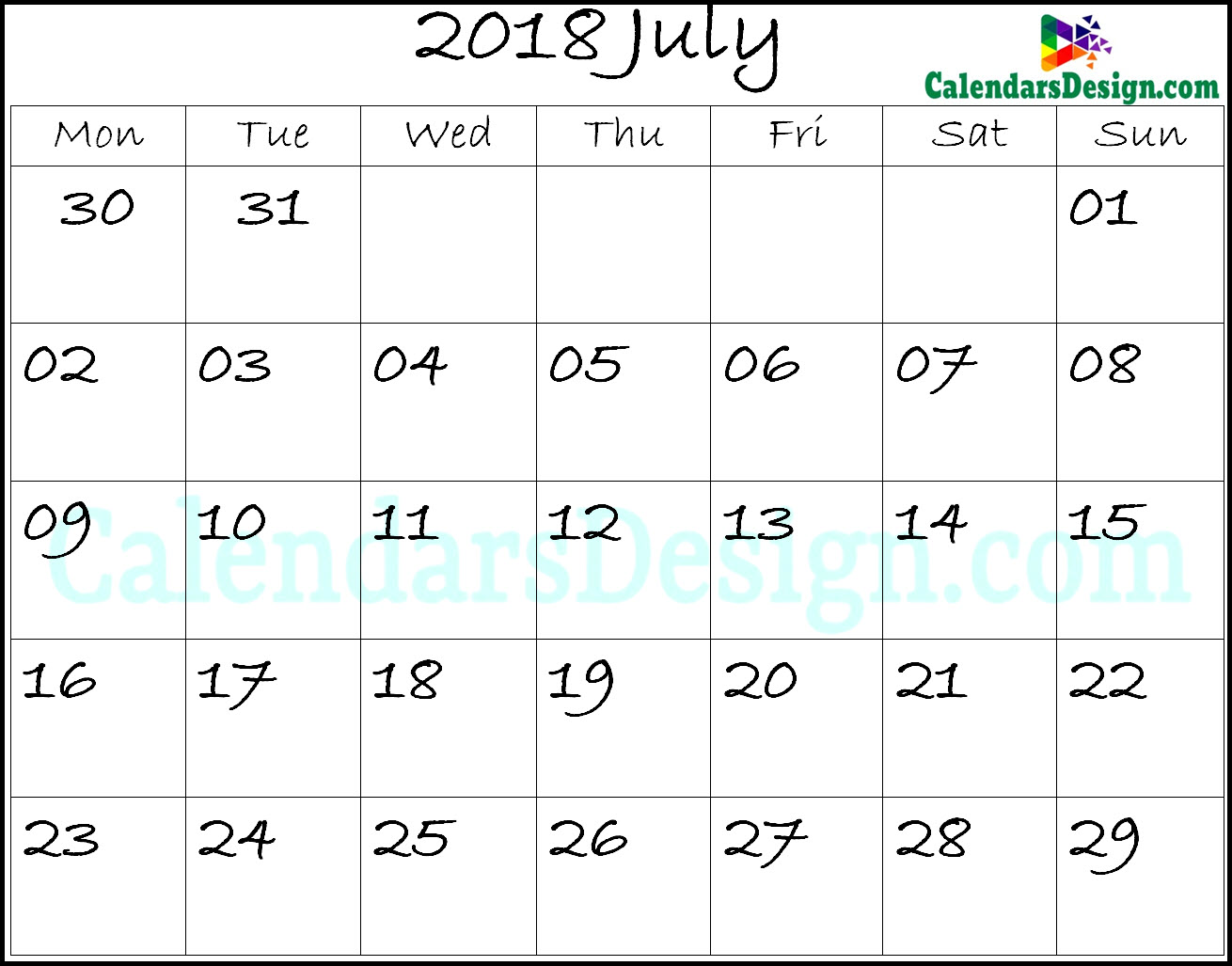 July Calendar 2018 Template