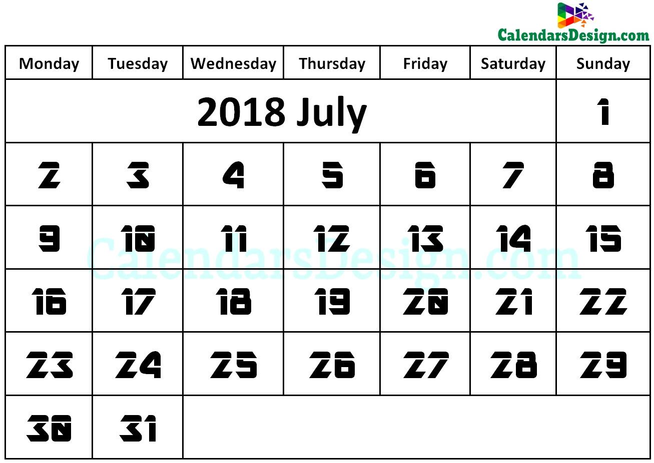 July Calendar 2018 Word