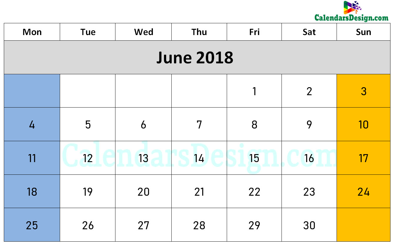 June 2018 Calendar Word Doc
