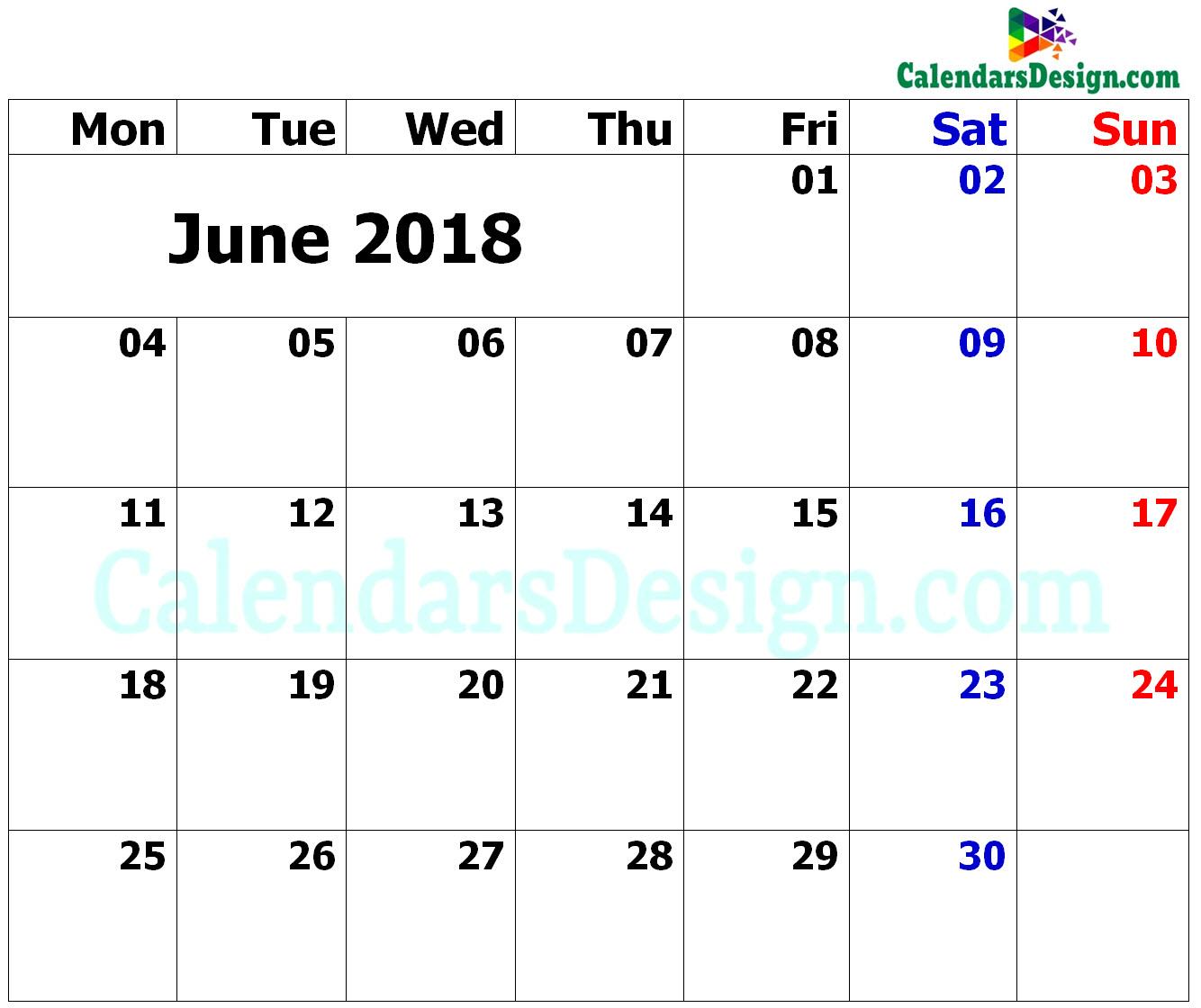 June Calendar 2018 Excel