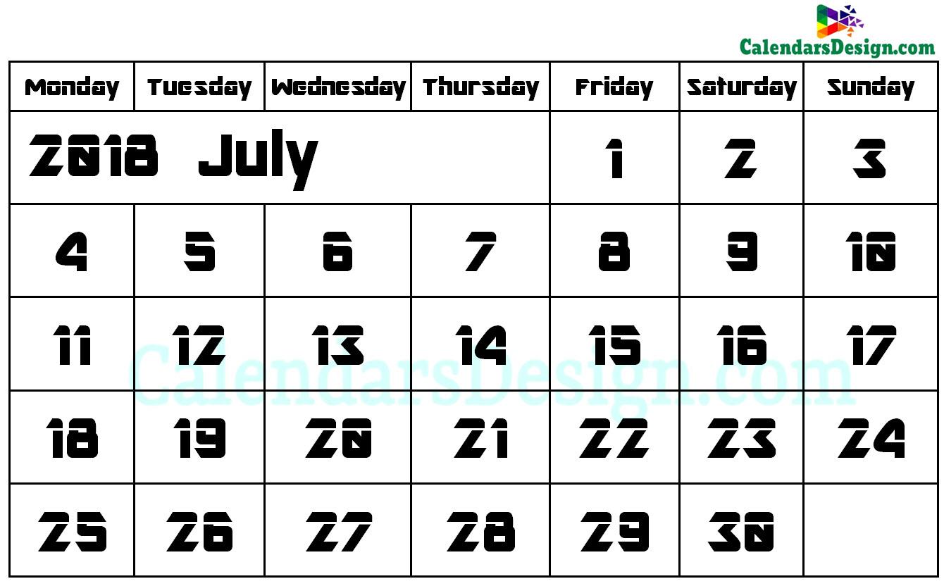 June Calendar 2018 Word