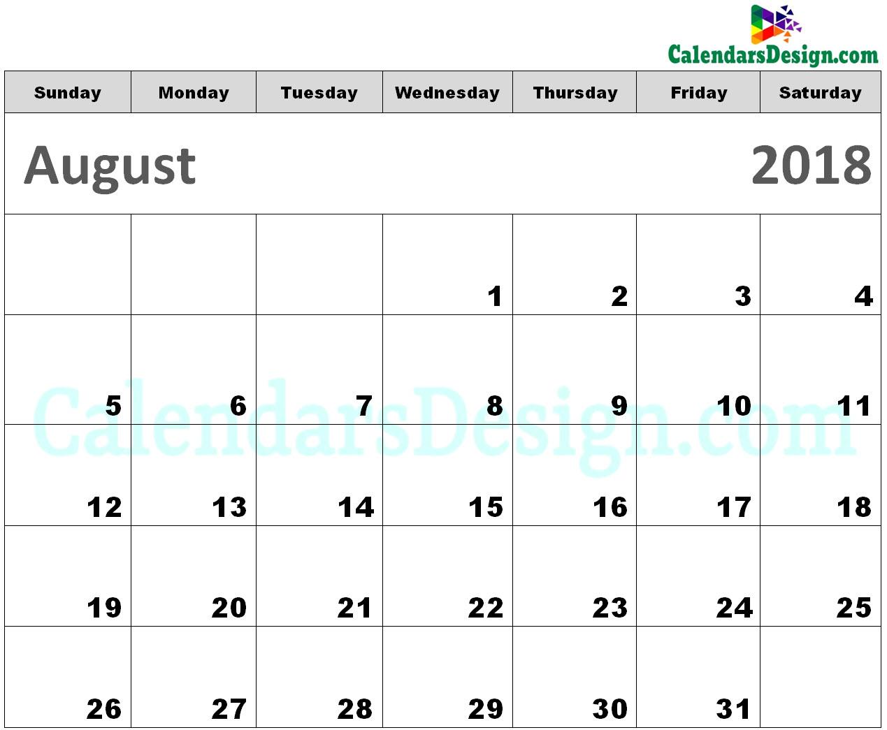 Printable Calendar for August 2018