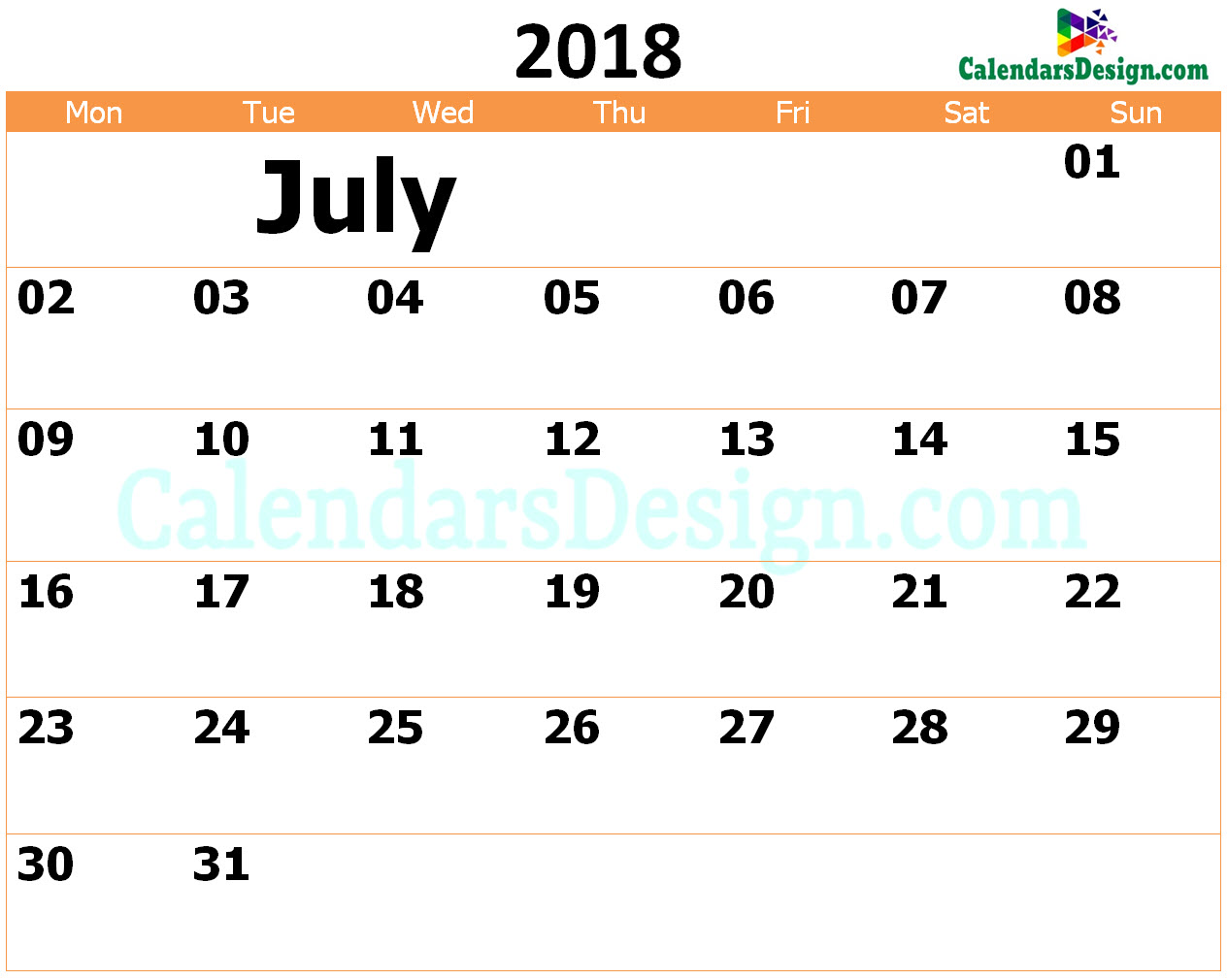 Printable Calendar for July 2018 Templates