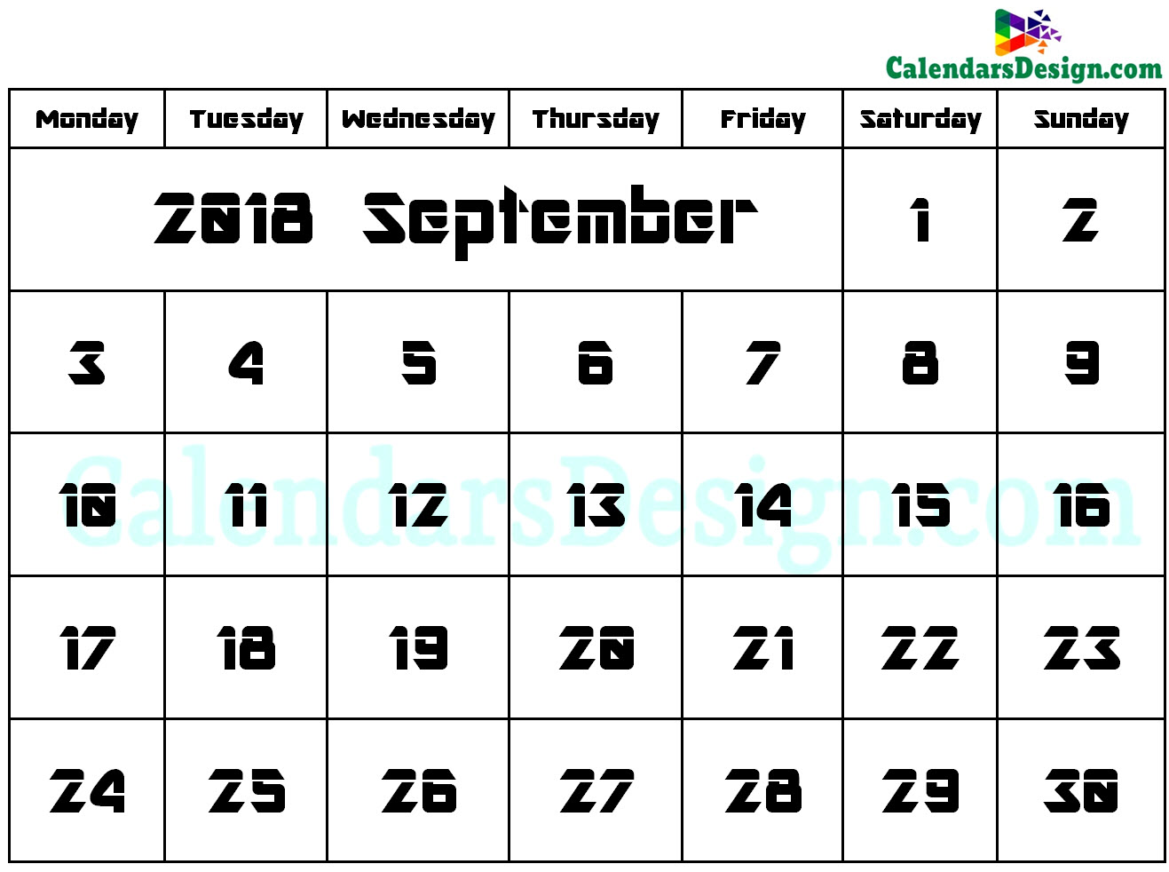 2018 September Calendar Holidays in Word