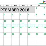 2018 September Calendar Printable Template