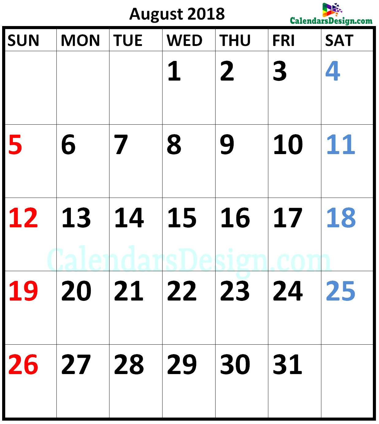 August 2018 Calendar A4 Size