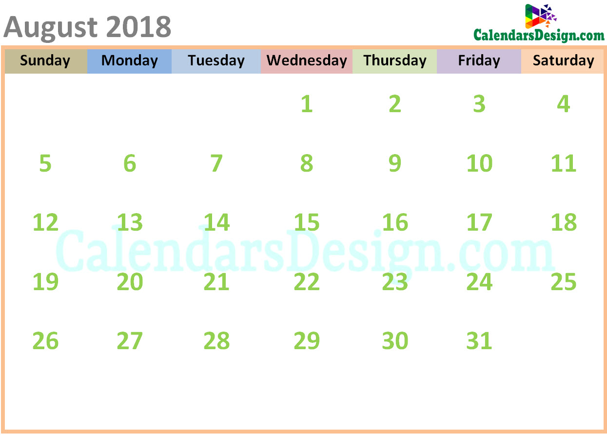 August 2018 Calendar Cute Designs
