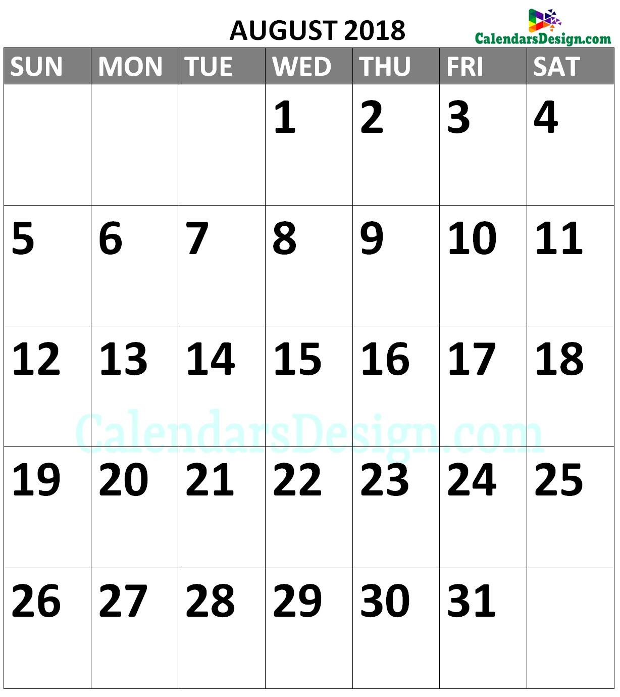 August 2018 Calendar Portrait