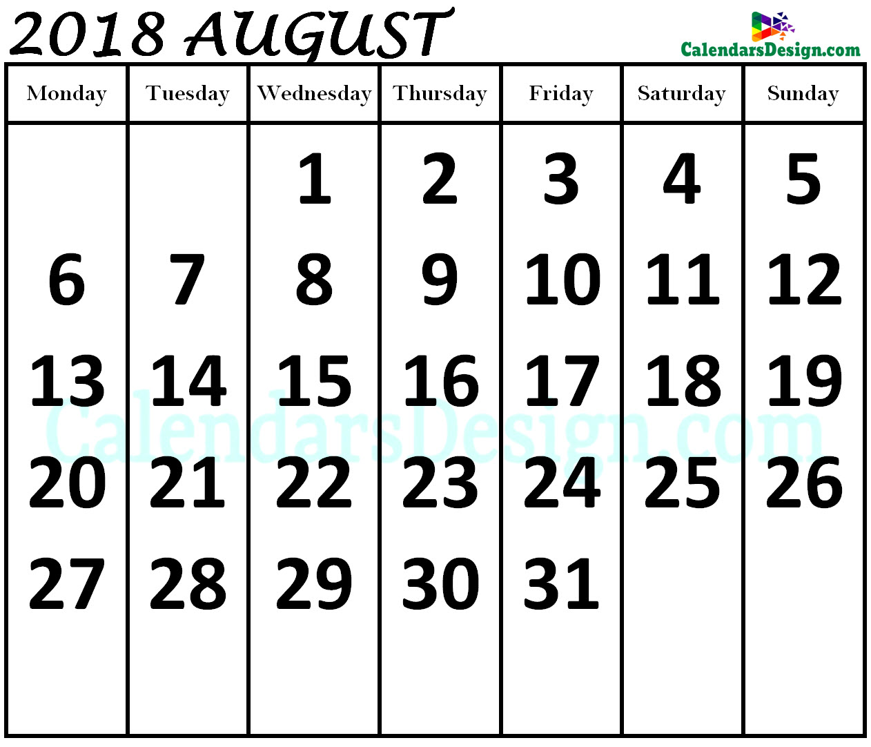 August 2018 Calendar in Page