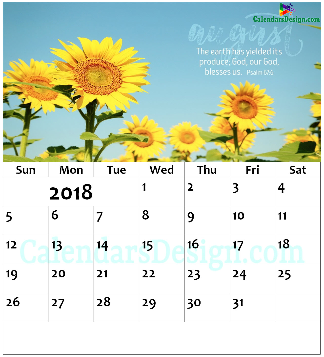 August 2018 Wall Calendar