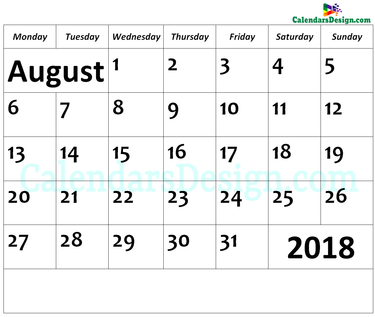 August Calendar 2018 Page