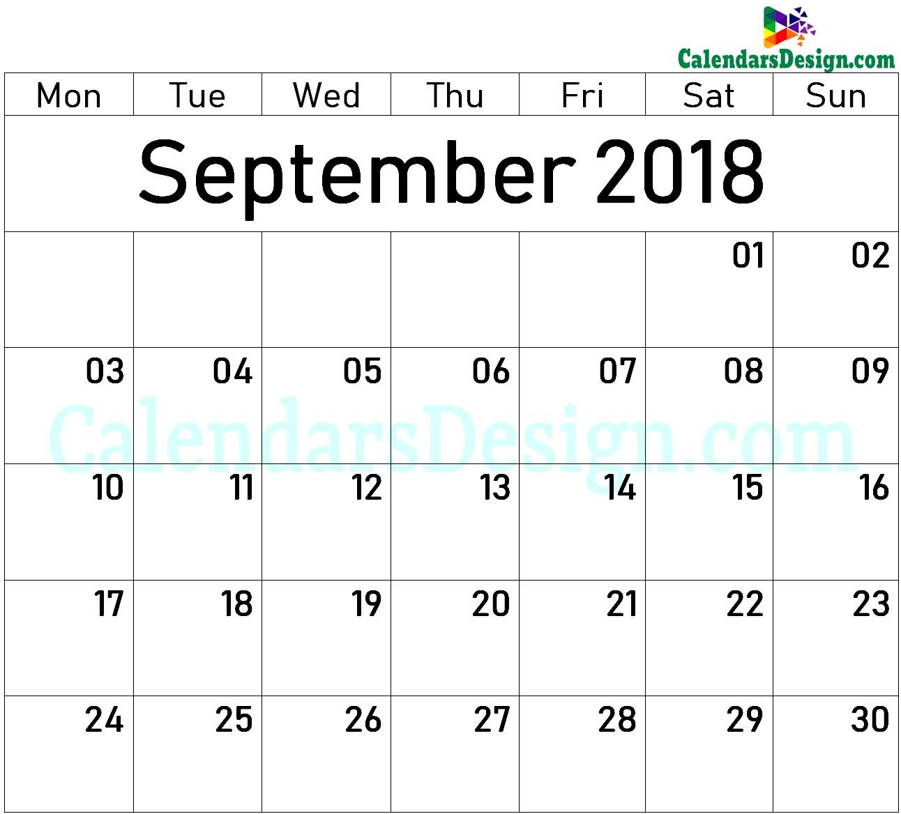 Blank Calendar for September 2018