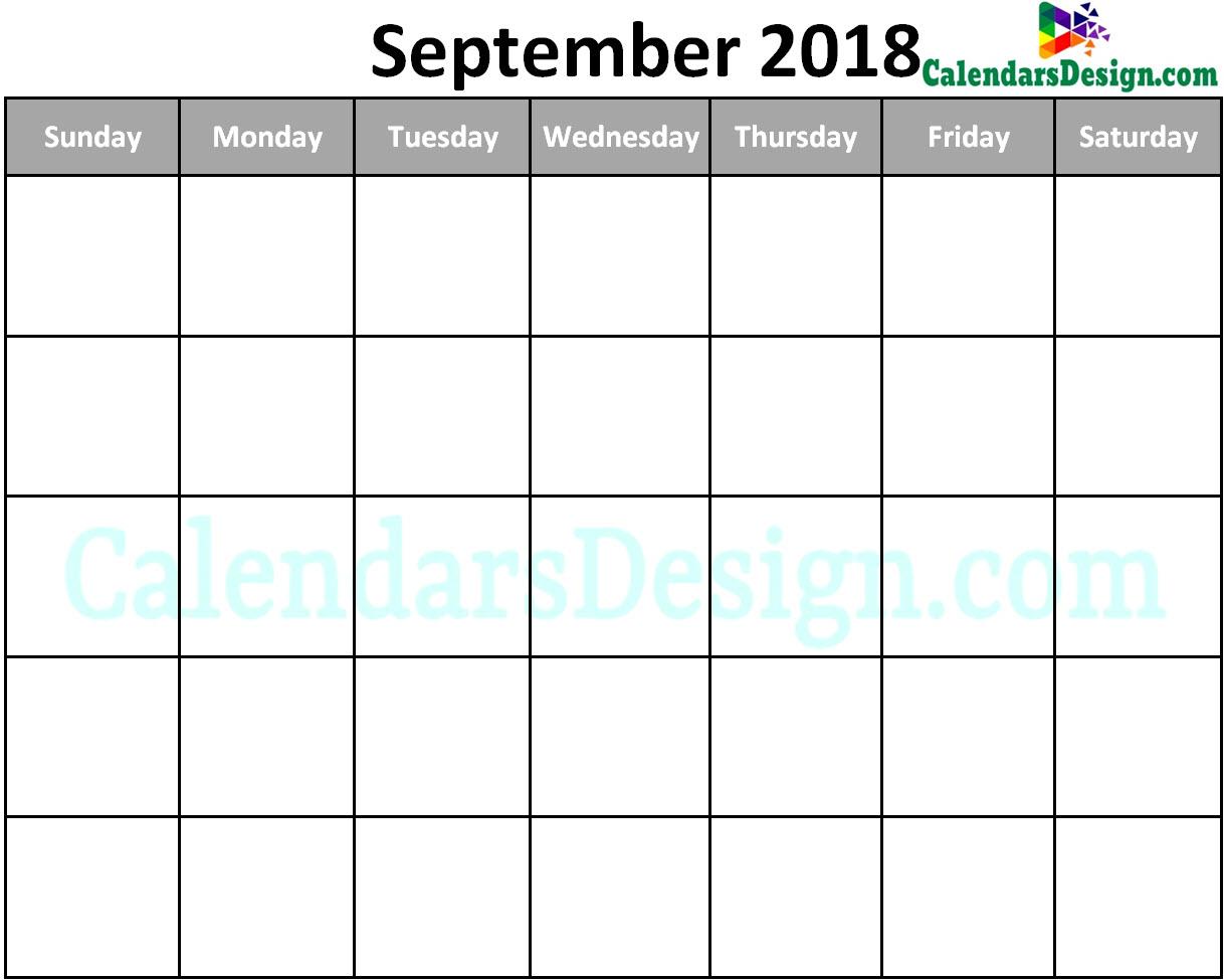 Blank September Calendar 2018 Template