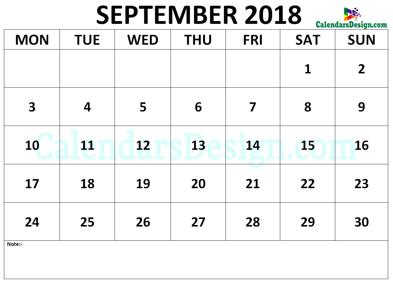 Calendar September 2018