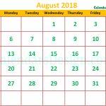 Cute August 2018 Calendar