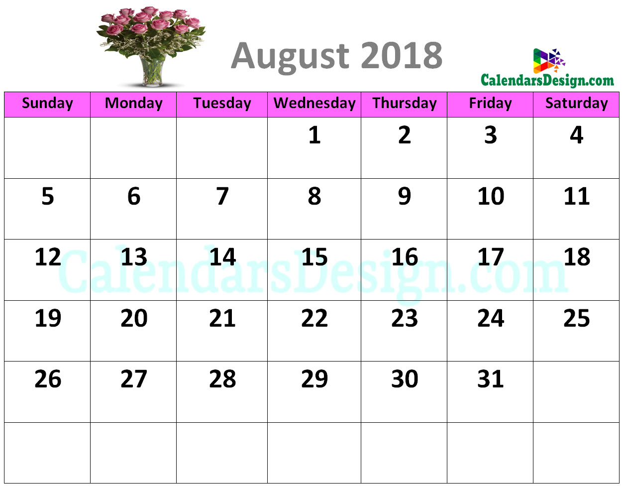 Decorative August 2018 Cute Calendar