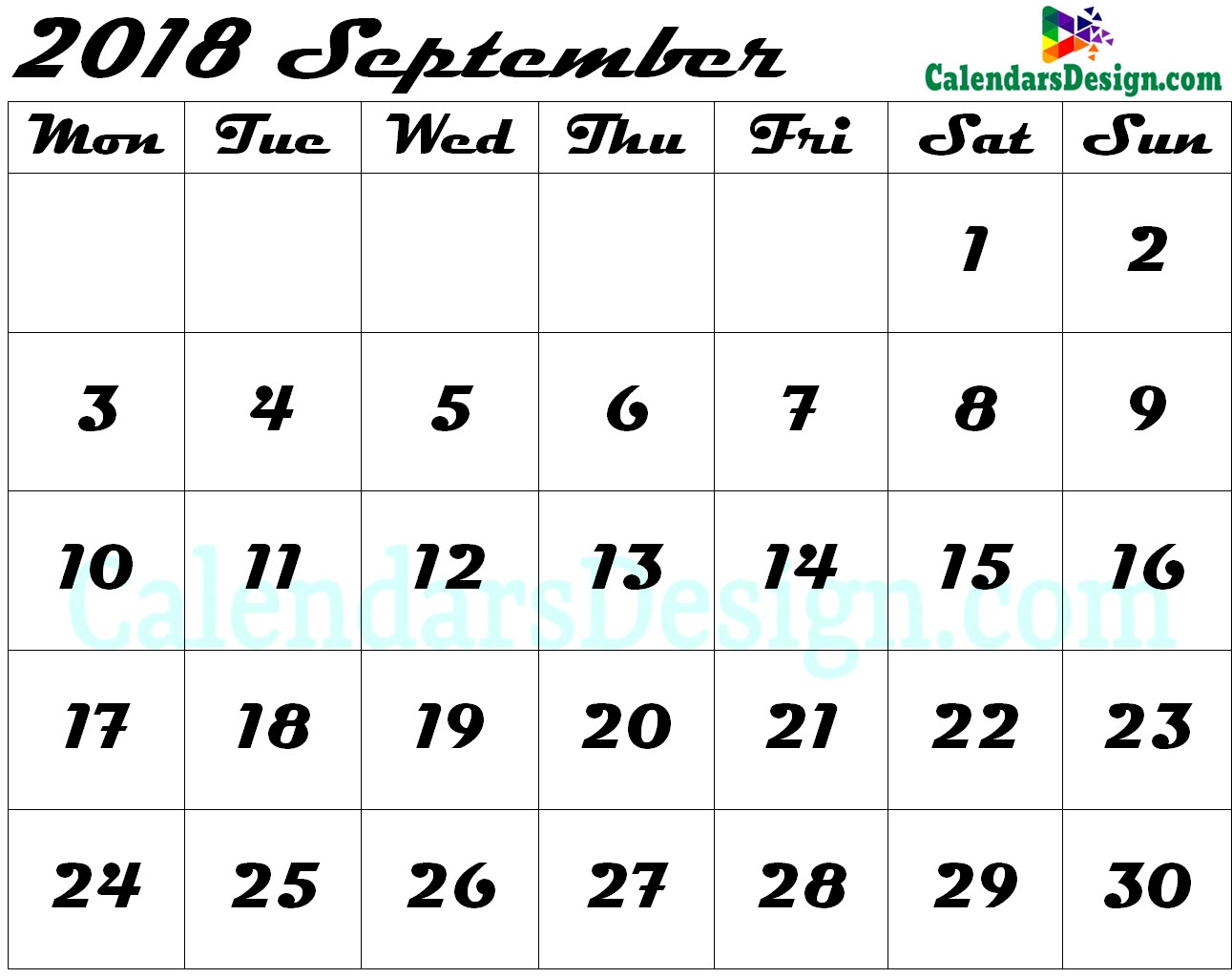 Editable September 2018 Calendar Blank Template