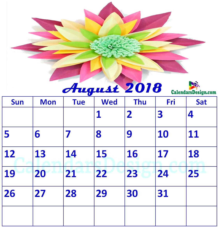 Floral August 2018 Calendar Printable